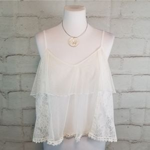 American Eagle S White Floaty Tiered Lace Tank Top